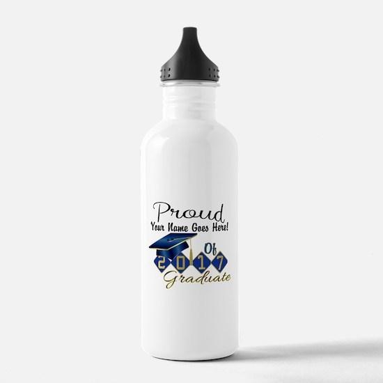 Proud 2017 Graduate Blue Water Bottle