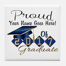 Proud 2017 Graduate Blue Tile Coaster