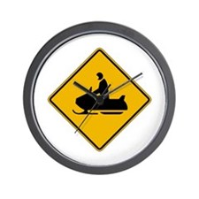 Snowmobile Warning - USA Wall Clock