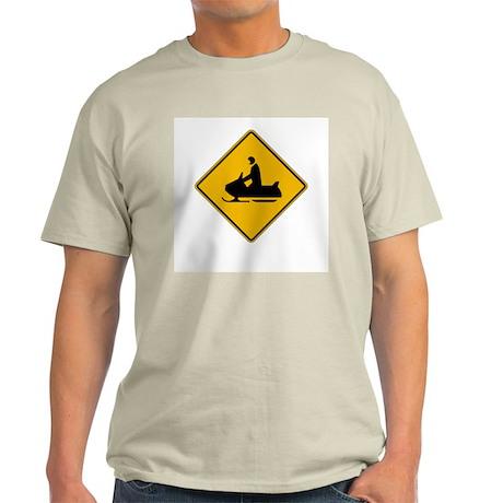 Snowmobile Warning - USA Ash Grey T-Shirt