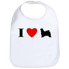 I Heart Tibetan Terrier Bib