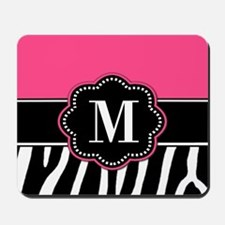 Pink Zebra Print Monogram Mousepad
