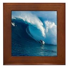 Big Wave Surfing Framed Tile
