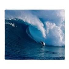 Big Wave Surfing Throw Blanket