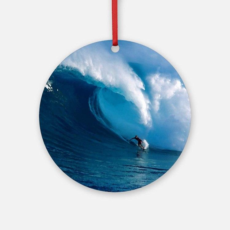 Big Wave Surfing Round Ornament