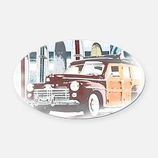 Vintage Woody Art Oval Car Magnet