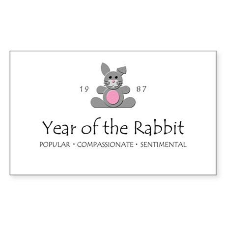 """Year of the Rabbit"" [1987] Rectangle Sticker"
