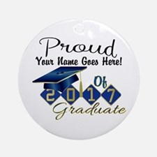Proud 2017 Graduate Blue Round Ornament