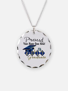 Proud 2017 Graduate Blue Necklace