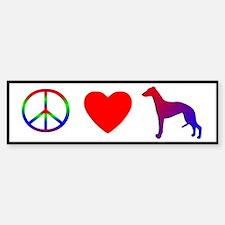 Peace, Love, Whippet Bumper Bumper Bumper Sticker