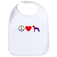 Peace, Love, Whippets Bib