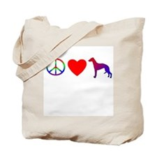 Peace, Love, Whippets Tote Bag