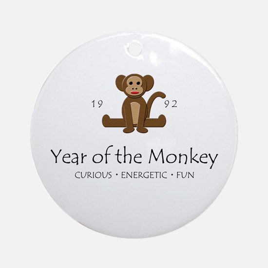 """Year of the Monkey"" [1992] Ornament (Round)"