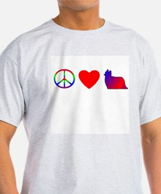 Peace, Love, Yorkies Ash Grey T-Shirt