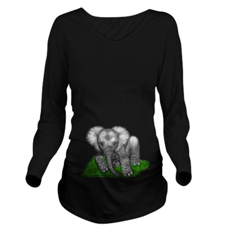 Baby Elephant Long Sleeve Maternity T-Shirt