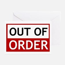 Out Of Order Sign TBBT Greeting Cards