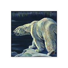 "Vintage Polar Bear Square Sticker 3"" x 3"""