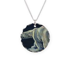Vintage Polar Bear Necklace Circle Charm