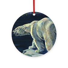 Vintage Polar Bear Round Ornament
