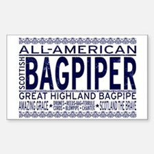 All American Bagpiper Rectangle Decal