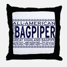 All American Bagpiper Throw Pillow