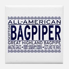 All American Bagpiper Tile Coaster