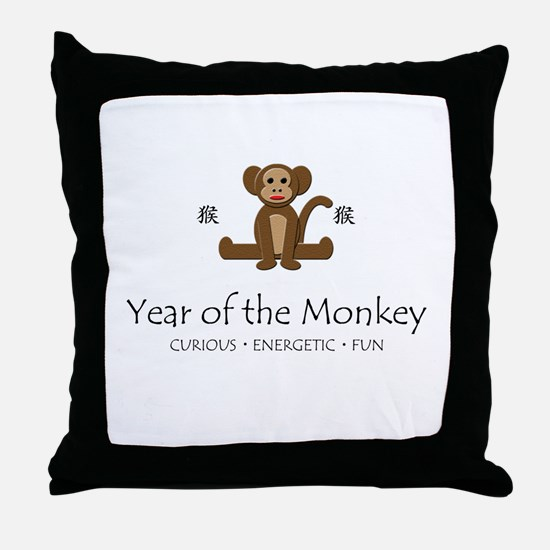 """""""Year of the Monkey"""" Throw Pillow"""