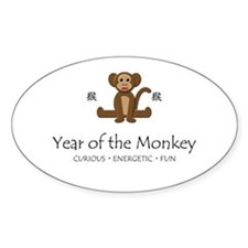 """Year of the Monkey"" Oval Decal"