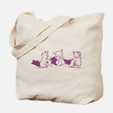 Three Kittens knitting Purple Tote Bag