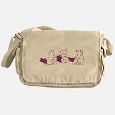 Three Kittens knitting Purple Messenger Bag