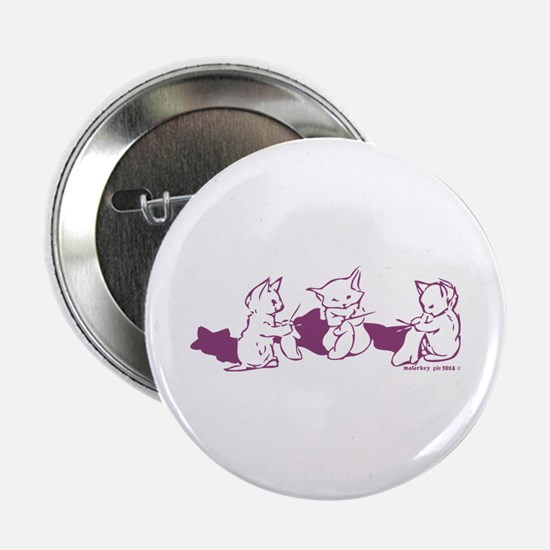 "Three Kittens knitting Purple 2.25"" Button"