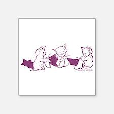 Three Kittens knitting Purple Sticker