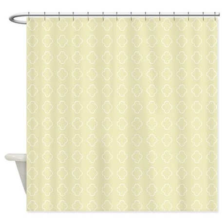 Pale Yellow Quatrefoil pattern Shower Curtain by
