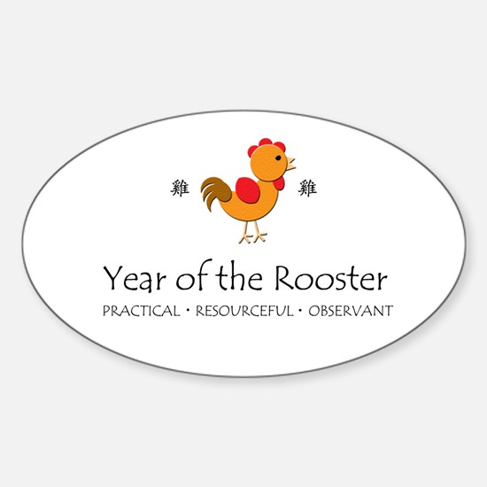 """""""Year of the Rooster"""" Oval Decal"""