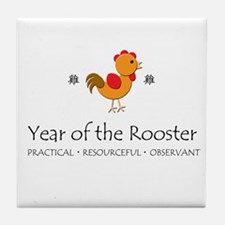 """""""Year of the Rooster"""" Tile Coaster"""
