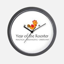 """""""Year of the Rooster"""" Wall Clock"""