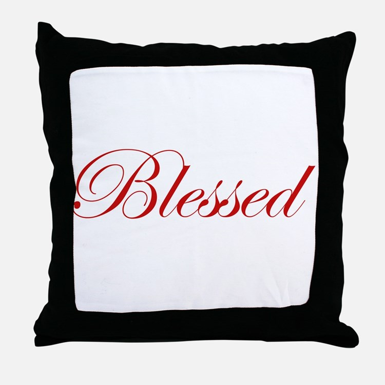 Red Blessed Throw Pillow