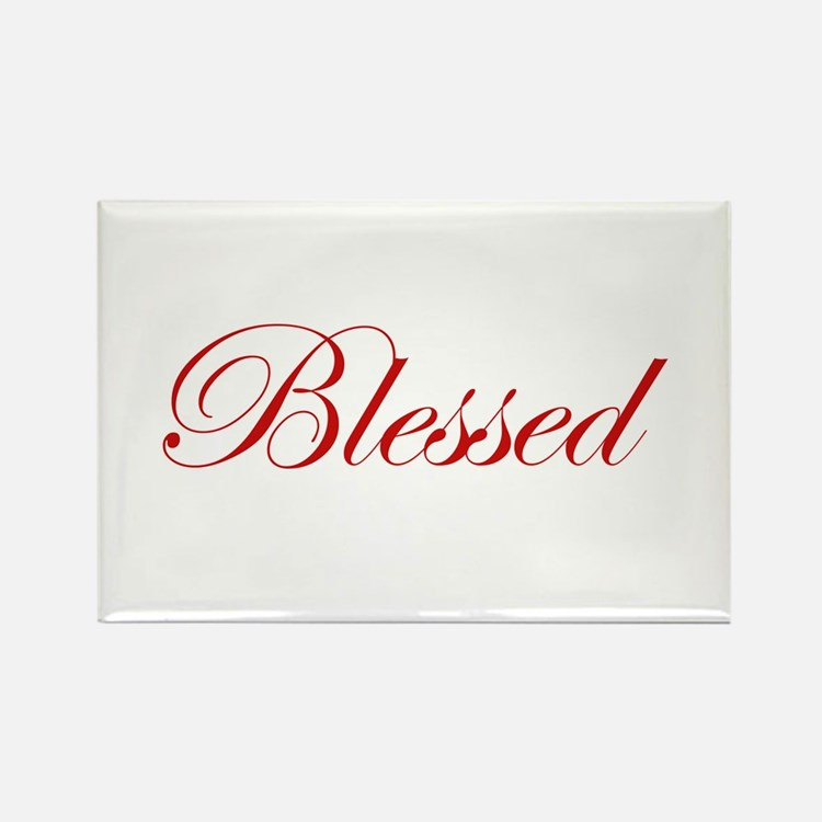 Red Blessed Rectangle Magnet