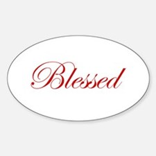 Red Blessed Oval Decal