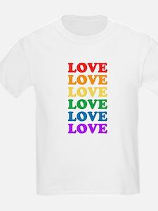 Love Love Love (Rainbow) Kids T-Shirt