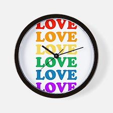 Love Love Love (Rainbow) Wall Clock