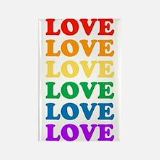 Love Love Love (Rainbow) Rectangle Magnet
