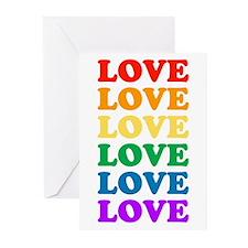 Love Love Love (Rainbow) Greeting Cards (Package o