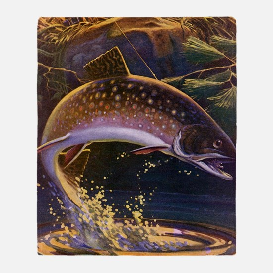 Vintage Fishing, Trout Fish Throw Blanket