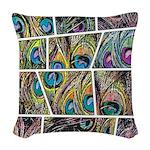 Peacock Cartoon - Woven Throw Pillow