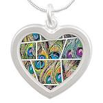 Peacock Cartoon - Silver Heart Necklace