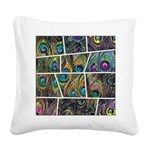 Peacock Cartoon - Square Canvas Pillow