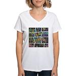 Peacock Cartoon - Women's V-Neck T-Shirt