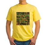Peacock Cartoon - Yellow T-Shirt