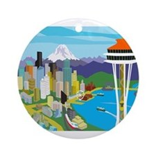 Space Needle Ornament (Round)